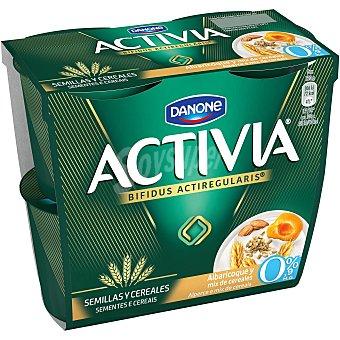 Activia Danone Yogur con albaricoque y mix cereales 0% pack 4 unidades 120 gr Pack 4 unidades 120 gr