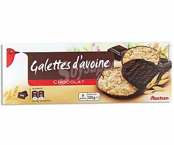 Auchan Galletas de avena napadas con chocolate negro 125 gramos