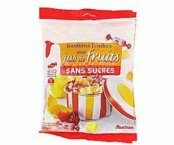 Auchan Caramelos masticables de zumos de fruta sin azúcar con edulcorantes y con extractos naturales Bolsa de 140 gramos