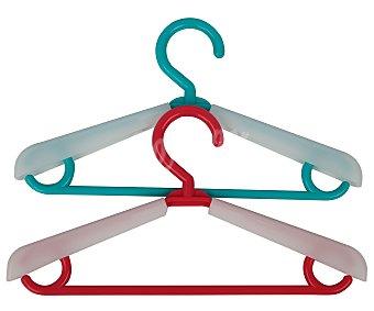 Actuel Perchas de plástico extensibles, rojo o azul, actuel Pack de 3