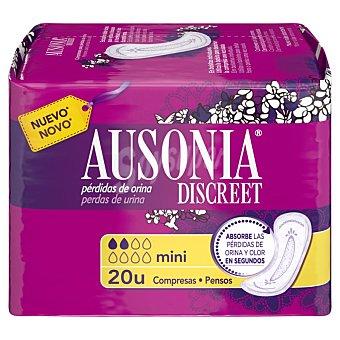 Ausonia discreet Compresas incontinencia mini para pérdidas de orina leves 20 uds