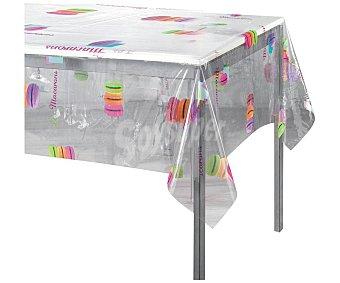 Productos Económicos Alcampo Mantel rectangular de Pvc transparente estampado Macarons, 140x200cm alcampo