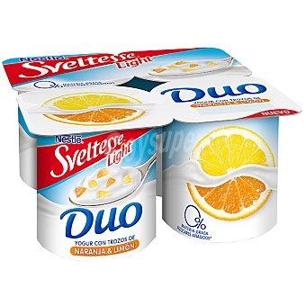 Sveltesse Nestlé Yogur Duo desnatado 0% con trozos de naranja y limón Pack 4 unidades 125 g