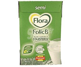 Flora Folic B Preparado Lácteo Semi Desnatado con ácido Fólico y Vitaminas B6, B12 + Vitaminas A, D, E Pack de 4x1L