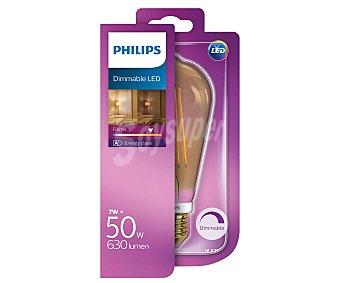 Philips Bombilla led esférica filamentos visibles, 7W, casquillo E27(grueso), luz cálida regulable philips