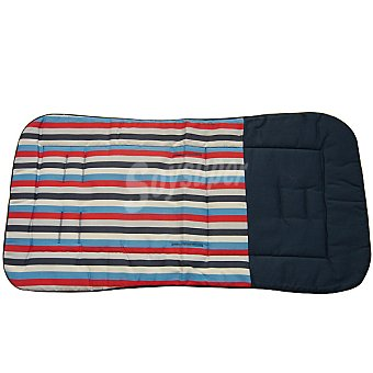 CANASTILLA SAMPLES Colchoneta para silla de paseo recta en azul marino y rayas multicolores