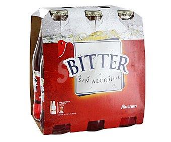 Auchan Bitter sin alcohol Botella de 25 centilitros pack de 6