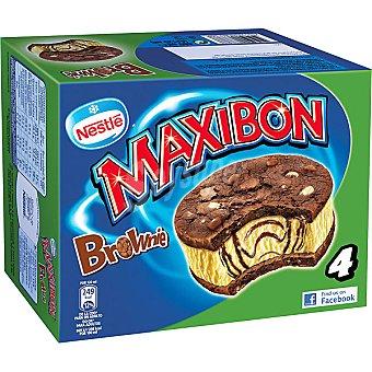 Maxibon Nestlé Sandwich de helado de vainilla con brownie 4 unidades