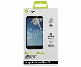 MUVIT Protector de pantalla Alcatel POP C9, 1 mate y 1 brillo,