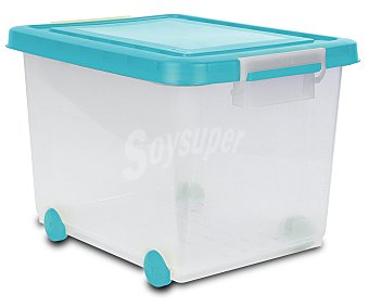 ARAVEN Caja de ordenación con ruedas, capacidad para 60 litros, de color blanco translúcido con rapa color azul o morado 1 Unidad