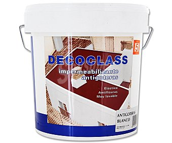 DECOCLASS Pintura Impermeable Antigoteras, Color Blanco 4 Litros
