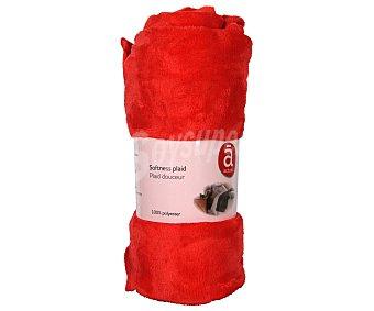 Actuel Manta de franela color rojo para sofá, 100% algodón, densidad de 220g/m², 130x170 centímetros 1 unidad