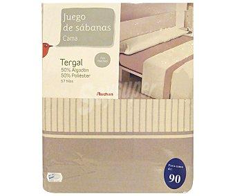 Auchan Juego de sábanas para cama de 90 centímetros con estampado a rayas color bisón, modelo Tenerife 1 unidad.