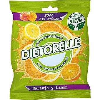 DIETORELLE Caramelo de naranja y limón rico en zumos de frutas con extracto de hojas de stevia  bolsa 70 g