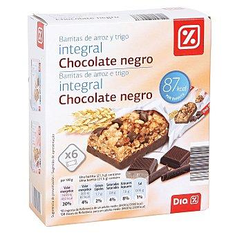 DIA Barrita cereales integral chocolate negro caja de 6 unidades (129 g)