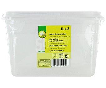 Productos Económicos Alcampo Lote de 2 recipientes de plástico transparente con tapa, 1 litro. Resistentes hasta 100ºC 1 Unidad