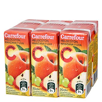 Carrefour Zumo melocotón uva Pack 6x20 cl