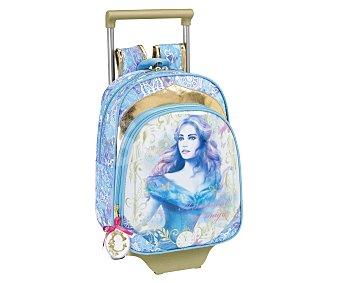SAFTA Mochila infantil con carro desmontable, asas reforzadas, amplio bolsillo frontal con cierre de cremallera e imagen la princesa Cinderella 1 unidad