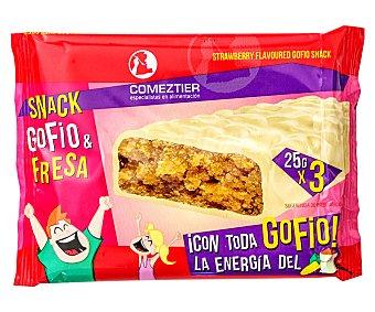 Comeztier Barritas de gofio y fresa 3 uds. x 25 g