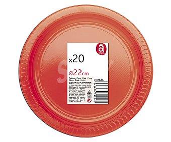 Actuel Platos llanos desechables color rojo, 22 centímetros de diámetro 20 unidades