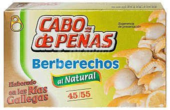 Cabo de Peñas Berberechos al natural 45-55 piezas Lata 63 g neto escurrido