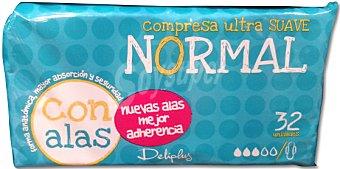 Deliplus Compresa absorción normal suave ultra plegada alas Paquete 32 u