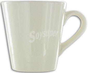 AUCHAN Mug o taza alta con asa, con capacidad de 27,5 centilitros y de color marfil 1 Unidad