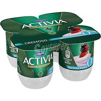 Activia Danone Yogur cremoso 0% materia grasa sabor frutas silvestres 4 unidades de 120 g
