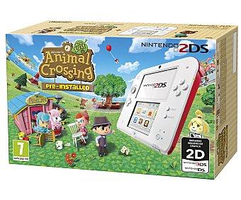 NINTENDO Consola Nintendo 2DS en Color Rojo + Juego Animal Crossing 1 Unidad