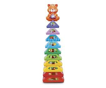 V-tech Piramide con 10 bloques de colores apilables, voz, melodías y gato luminoso 1 unidad