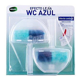 Relevi Block taza wc completo efecto lejia azul + cloro activo PACK-2 ( colorea el agua) Pack 2 x 40 g - 80 g