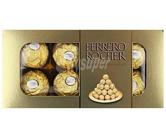 FERRERO ROCHER Bombones crujientes de chocolate con leche y avellanas, con relleno cremoso y avellana entera 100 gramos