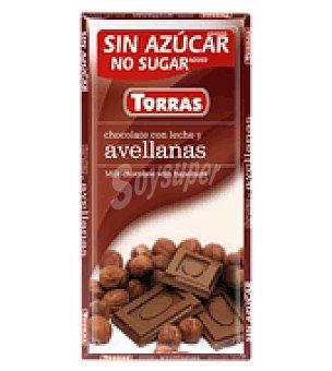 Torras Chocolate con leche y avellanas sin azúcar 75 g.