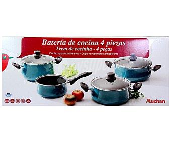 Auchan Batería de cocina fabricada en baquelita. Compuesta de 3 cacerolas con tapa de diferentes tamaños y 1 cazo. No apta para inducción 1 Unidad