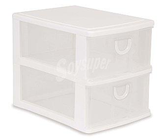 ARAVEN Torre de ordenación modelo Mobel Kit con 2 cajones altos, fabricada en plástico de color blanco translúcido 1u