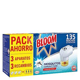 Bloom Insecticida eléctrico para mósquitos común y tigre 3 aparatos + 3 recambios