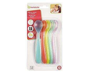 Badabulle Lote de 5 cucharas para bebes entre 0 y 36 meses, varios colores