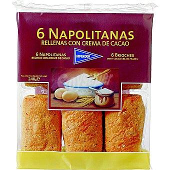 HIPERCOR napolitanas rellenas de crema de cacao paquete 240 g 6 unidades