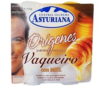 Central Lechera Asturiana Yogur Vaqueiro con miel Pack 4 Unidades de 125 Gramos