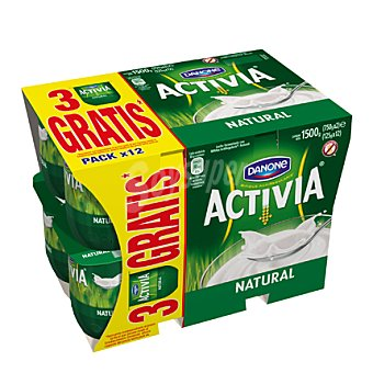 Activia Danone Yogur natural Pack de 12x125 g