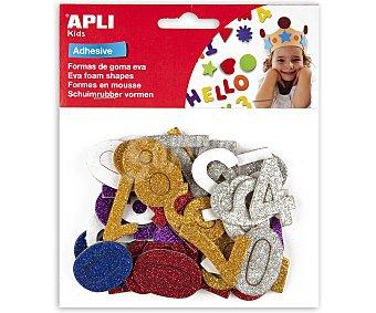 APLI Bolsa de 50 números adhesivos de goma eva con brillantina y de diferentes colores 1 unidad