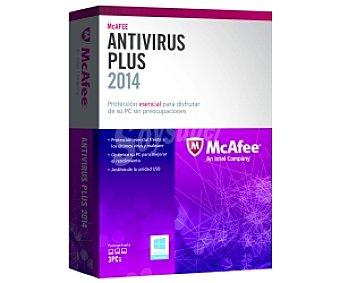 McAfee Antivirus Antivirus Plus 2014 3 PC. Potente protección para PC. Herramientas de privacidad y optimización del PC. Protección para navegación en la Web. Firewall bidireccional. Seguridad contra la intrusión en la red.