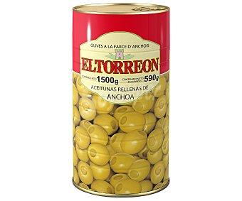 El Torreón Aceitunas verdes manzanilla rellenas de anchoa 590 gramos