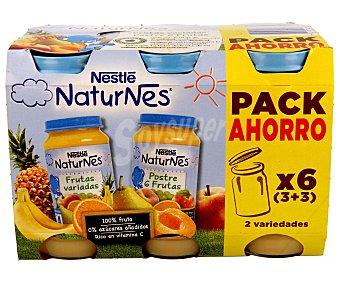 Naturnes Nestlé Tarritos de 6 frutas y frutas variadas 6 unidades de 250 gramos
