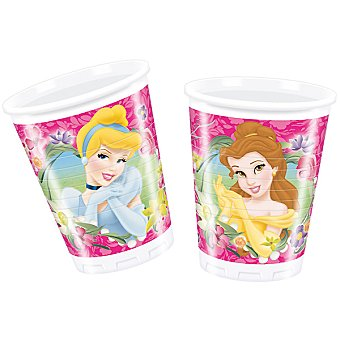 LIRAGRAM Vaso plástico decorado Princesas 200 ml 10 unidades
