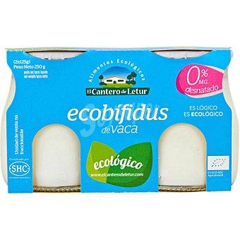 El Cantero de Letur Yogur desnatado natural ecológico de leche de vaca Pack 2 unidades 125 g