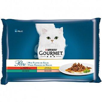 Comida húmeda para gatos adultos Gourmet Perle Finas Láminas con Legumbres 4 x 85 gr 85 gr
