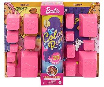 Barbie Muñeca Color Reveal que revela sus colores bajo el agua, cada caja incluye 25 sorpresas barbie.