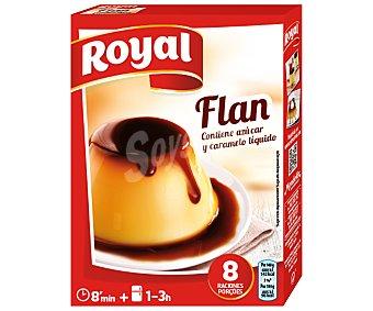 Royal Flan para preparar contiene azúcar y caramelo líquido 8 raciones Estuche 186 g (2 sobres)