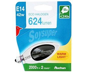 Auchan Bombilla ecohalógena vela lisa 42W, casquillo E14 (fino) y luz cálida 1 unidad